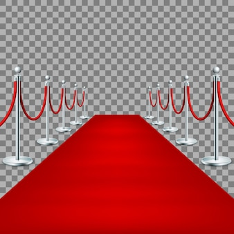Реалистичная красная ковровая дорожка между веревочными барьерами.