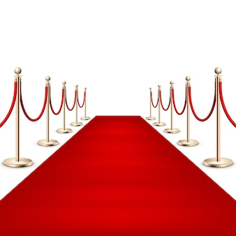 Realistic red carpet between rope barriers on ceremonial vip event. isolated on white.