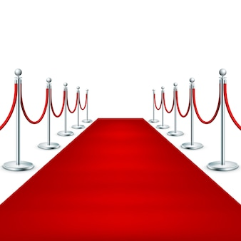 Realistic red carpet between rope barriers.