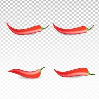 Реалистичная коллекция красного перца чили на прозрачном белом фоне