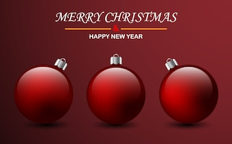 Realistic red christmas ball isolated on red background