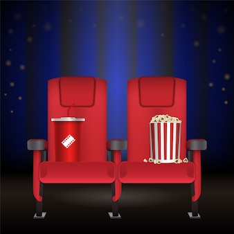 Realistic red cinema movie theater seat