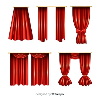 Realistic red closed and open curtain collection
