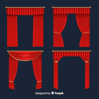 Realistic red curtain collection