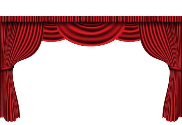 白い古典的なレトロなイラストのリアルな赤いカーテンステージ