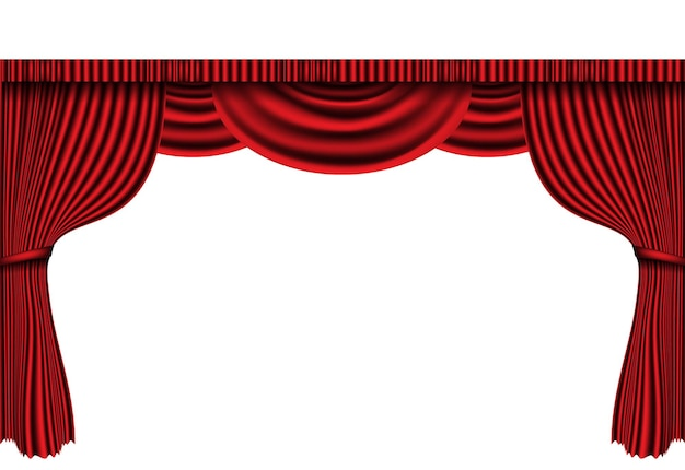 Realistic red curtain stage on white classic retro  illustration