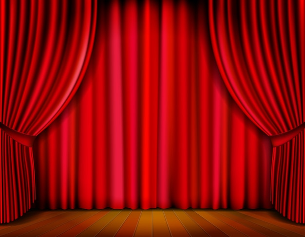 Realistic red curtain on wooden stage