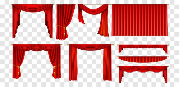 Realistic red curtains set decorate elements collection