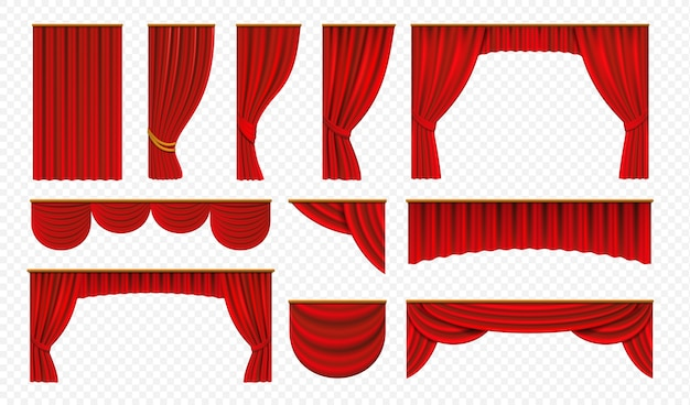 Realistic red curtains. theater stage drapery, luxury wedding cover decoration, theatrical borders