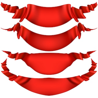 Realistic red decorative ribbon, banners, stripe set isolated on white.