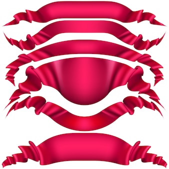 Realistic red decorative ribbon.
