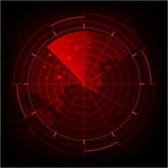 현실적인 빨간색 디지털 레이더 화면 및 대상이있는 군사 검색 시스템.