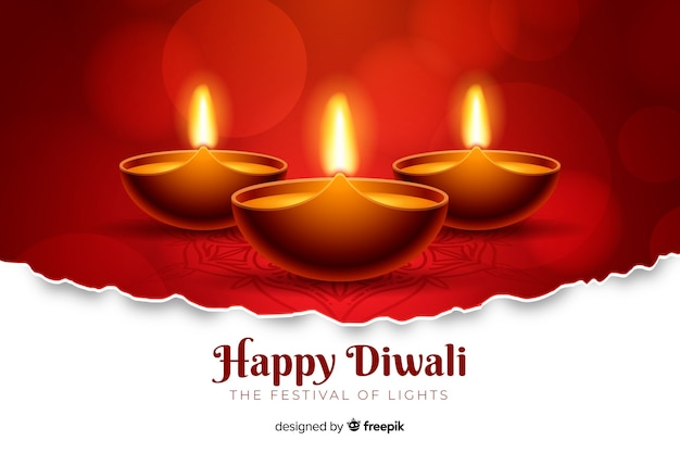 Realistic red diwali background