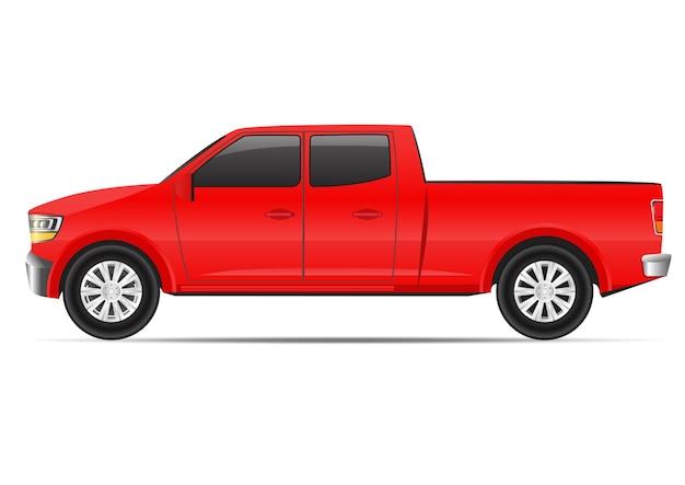 白で隔離される現実的な赤いダブルキャブトラックの側面図。