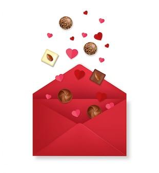 Реалистичный красный конверт с шоколадным и бумажным сердцем, с днем святого валентина, романтичный