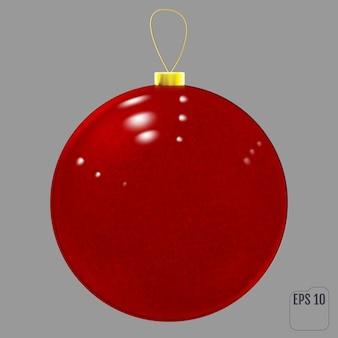 リアルな赤いガラスのクリスマスボール。透明な質感のクリスマスボールの装飾。ベクター