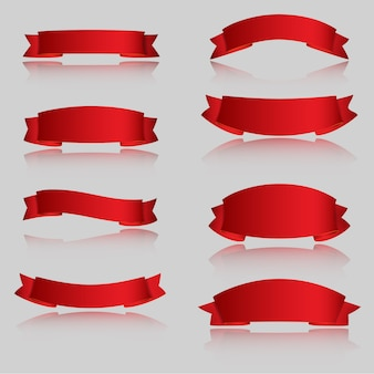 Realistic red glossy vector ribbons