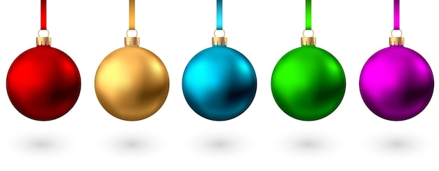 Realistic  red, gold, blue, green, pink, purple  christmas  balls  isolated on white background. vector  xmas  tree decoration.