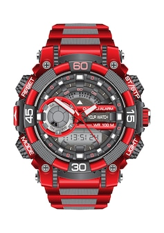 Realistic red grey watch clock chronograph on white background.