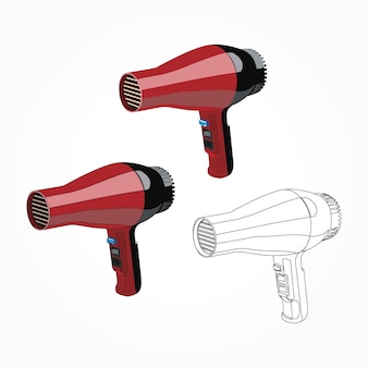 Realistic red hair dryer illustration