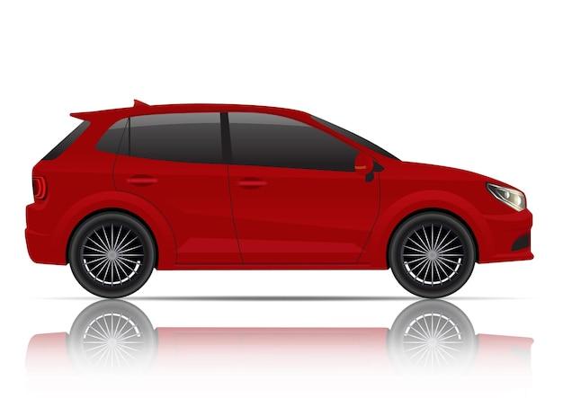 リアルな赤いハッチバック車の側面図。