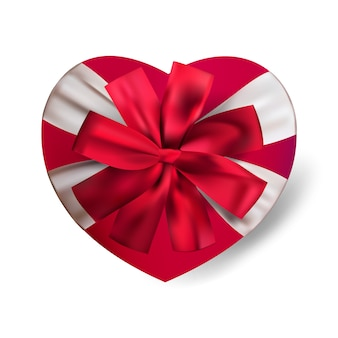 Realistic red heart shape gift box isolated on white