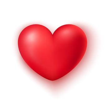 Реалистичная форма красного сердца изолированы