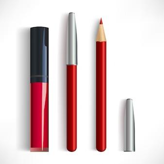모자와 립스틱으로 현실적인 빨간 입술 연필