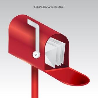 Реалистичные красный фон почтовый ящик