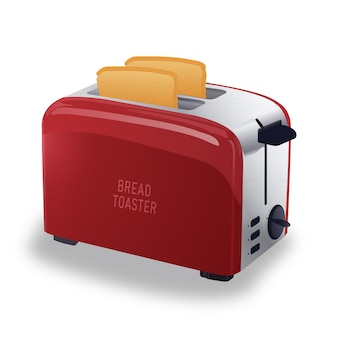 Realistic red metallic toaster