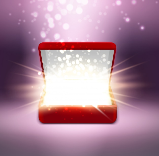 Realistic red open jewelry box with shine on blurred purple