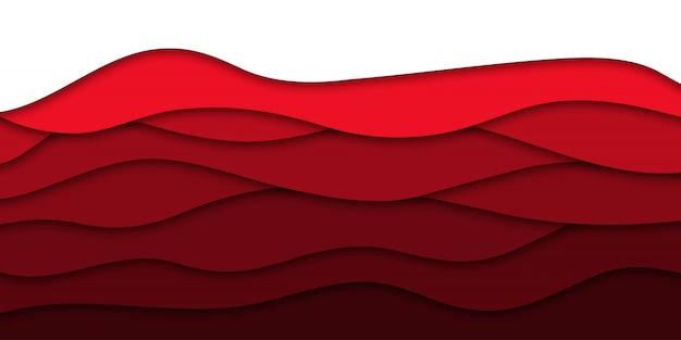 현실적인 빨간 종이 장식 및 취재 레이어 배경을 잘라. 기하학적 추상의 개념입니다.