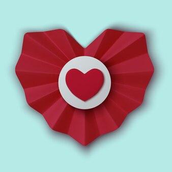 Реалистичные красные бумажные сердечки на синем фоне