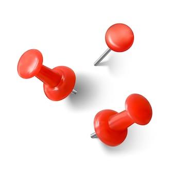 Реалистичная красная скрепка с тенью. красная канцелярская кнопка 3d. изолированные на белом фоне