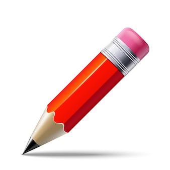 Реалистичный красный карандаш на белом фоне. ,