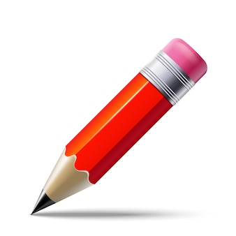 Realistic red pencil isolated on white background.  .