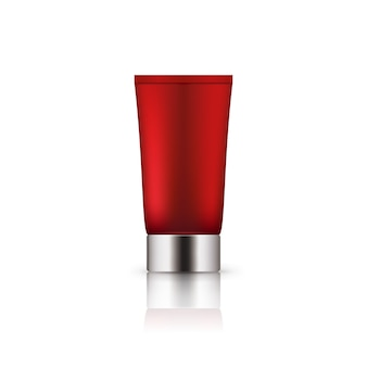 Realistic red plastic bottle with silver cap.