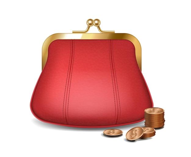 돈 저장을 위한 황금 동전이 있는 현실적인 빨간 지갑. 세련된 여성용 가죽 지갑 또는 지갑