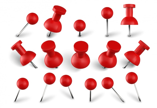Realistic red push pins. attach buttons on needles, pinned office thumbtack and paper push pin  set. stationery items. paperwork equipment. school accessories collection on white background