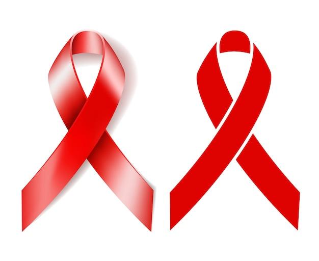 リアルな赤いリボンと白い背景で隔離のシルエット赤いリボン