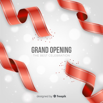 Realistic red ribbon grand opening background