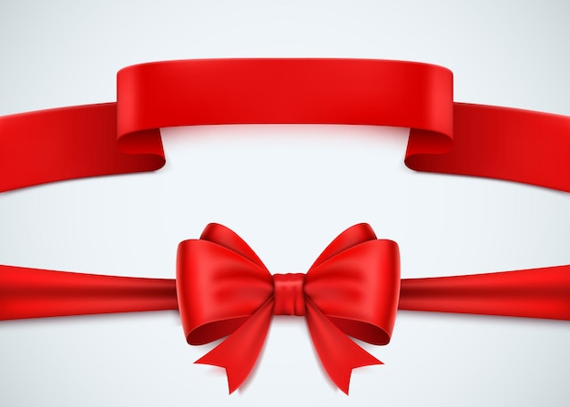 Realistic red ribbon set on white.