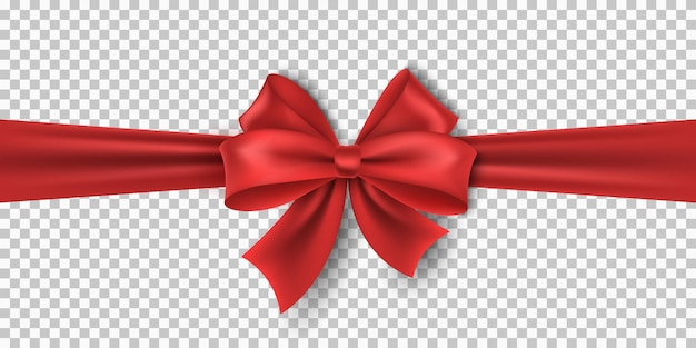 Realistic red ribbon with bow isolated on transparent background for christmas, new year, party, sale or birthday. luxury, silk tape. vector element for holiday. eps 10