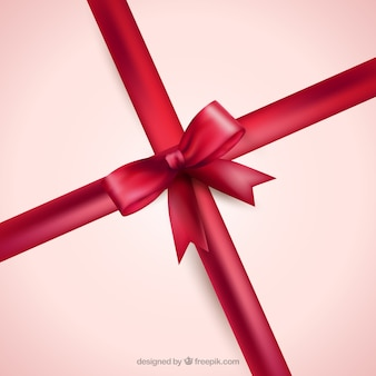 Realistic red ribbon with a bow