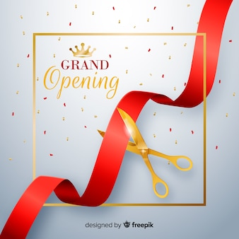 Realistic red ribbon with golden scissors grand opening background