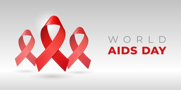 Realistic red ribbons for world aids day. december hiv awareness symbol.
