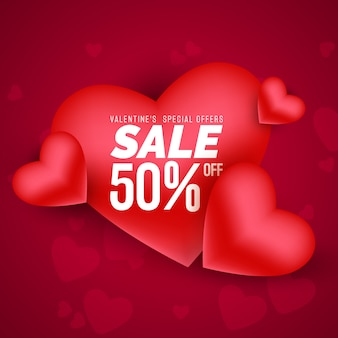 Realistic red romantic valentine hearts sale background