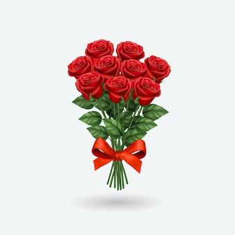 현실적인 붉은 장미 꽃다발.