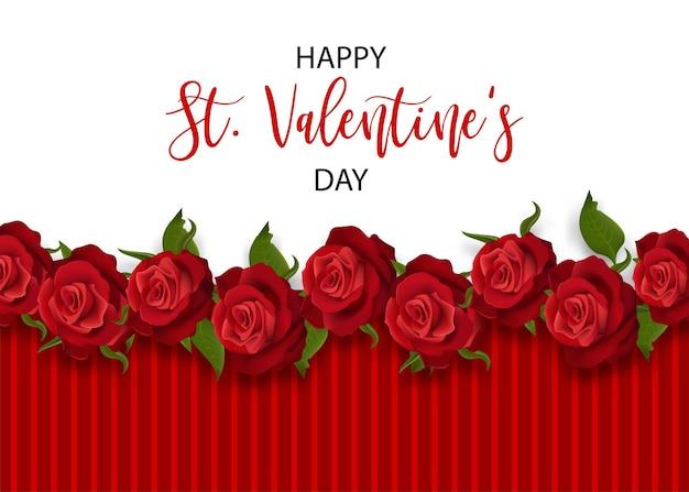 リアルな赤いバラ聖バレンタインデーカード愛の花の花束バレンタインバナーフレーム