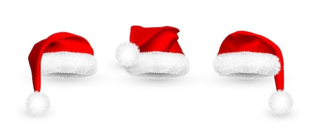 白い背景で隔離の現実的な赤いサンタクロースの帽子。毛皮付きグラデーションメッシュサンタクロースキャップ。